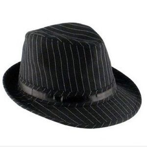 Claire's Adult One Size Fedora. Black Pinstripe